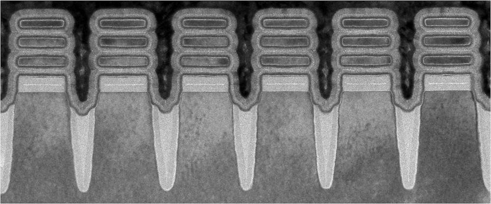 Các bóng bán dẫn nanô được chế tạo bằng quy trình 2 nanomet mới của IBM. Ảnh: IBM