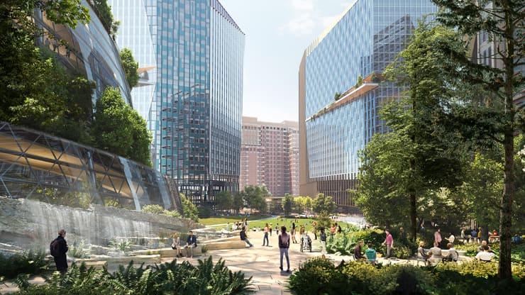 Bản kết xuất HQ2 của Amazon cho thấy 'Forest Plaza' nằm ở chân tòa tháp cao 350 foot của nó, được đặt tên là 'The Helix'.Ảnh: NBBJ / Amazon