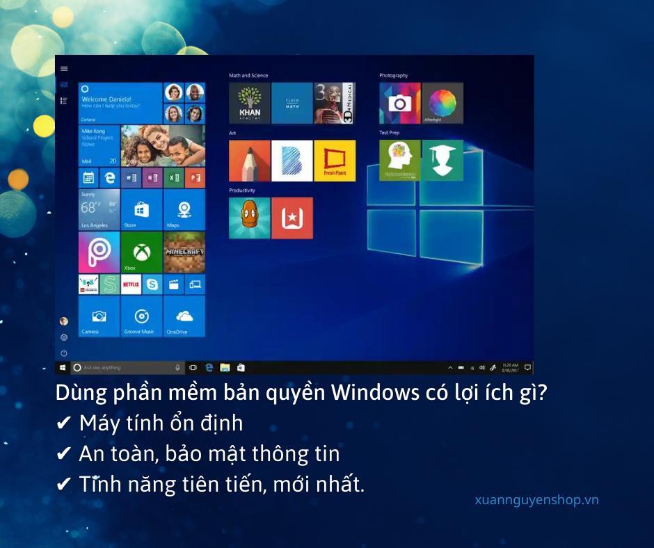 Phần mềm Windows 10 hiện đại, giao diện đẹp với công nghệ đám mây