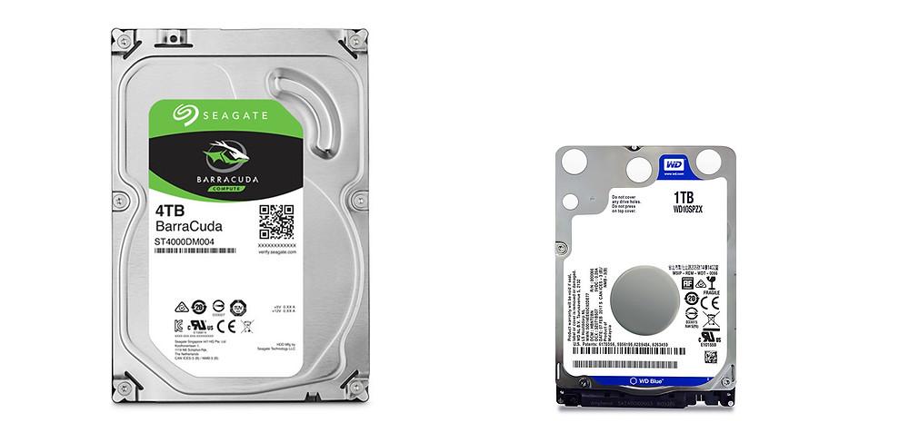 HDD 3,5 inch cho desktop và HDD 2,5 inch cho laptop