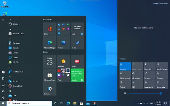 Ảnh chụp màn hình Windows 10 phiên bản 2105 đang hiển thị Menu Start và Action Center.