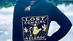 Lost Cowgirl Records black zip-up hoodie