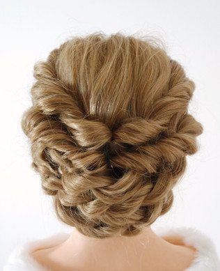 textured, loose and low updo