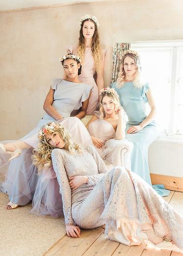 bridemaids, dresses, curly hair, curls, updo, hairup, wedding hair, hairdresser, flowers,crown, wavy hair, blowdry, bride, hair inspiration, boho, romantic, fairytale