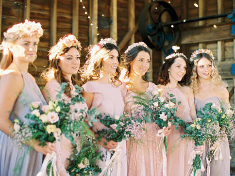bridemaids crew . curly and wavy hair, half up half down