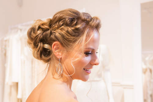 braided and curly bridal updo