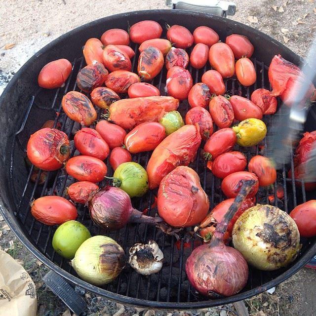 Roasting veggies for salsa.