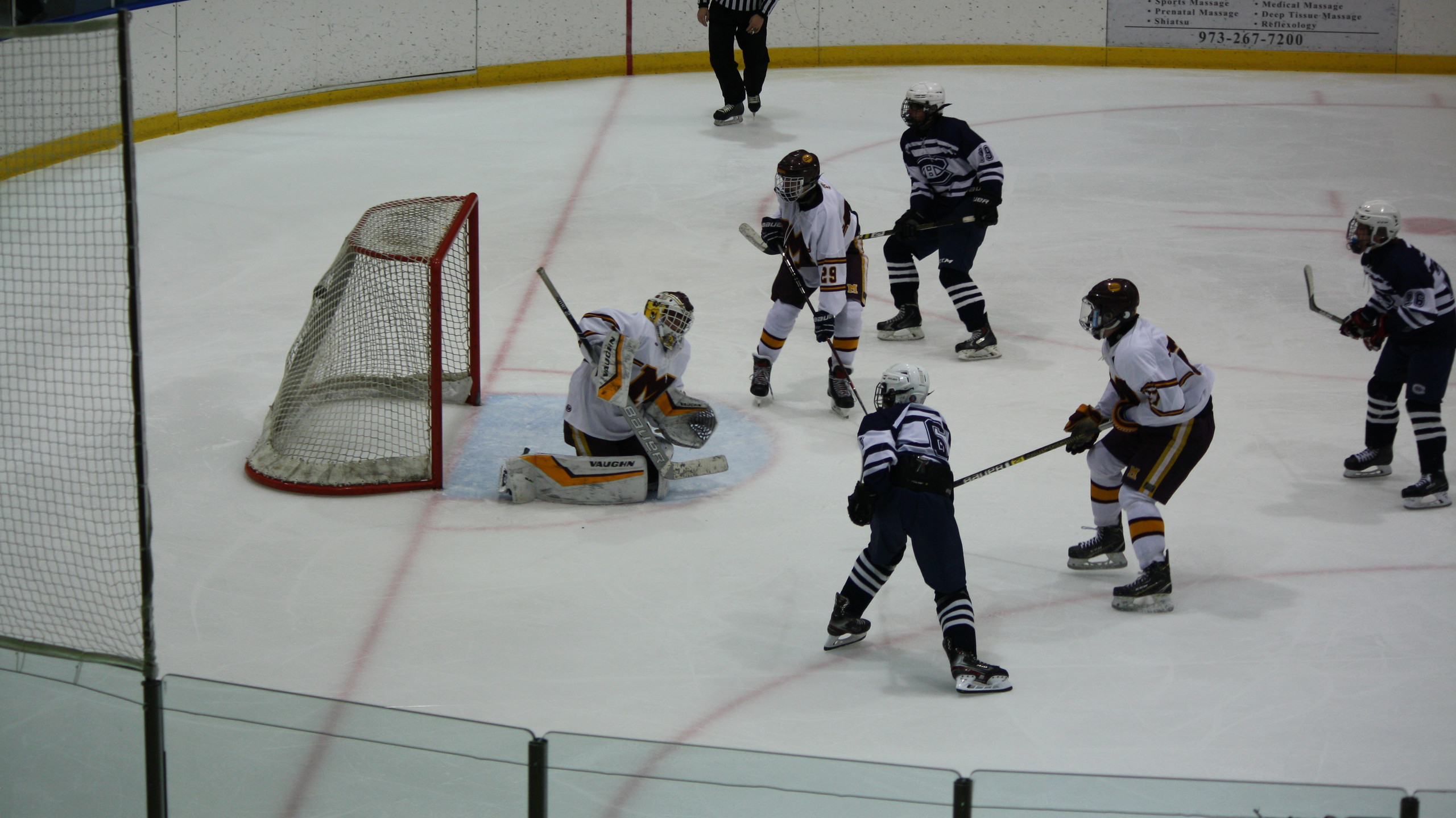 Chatham's Will White scores in the second period against Madison. (Mike Gurnis | The Morris-Sussex Hockey Report)