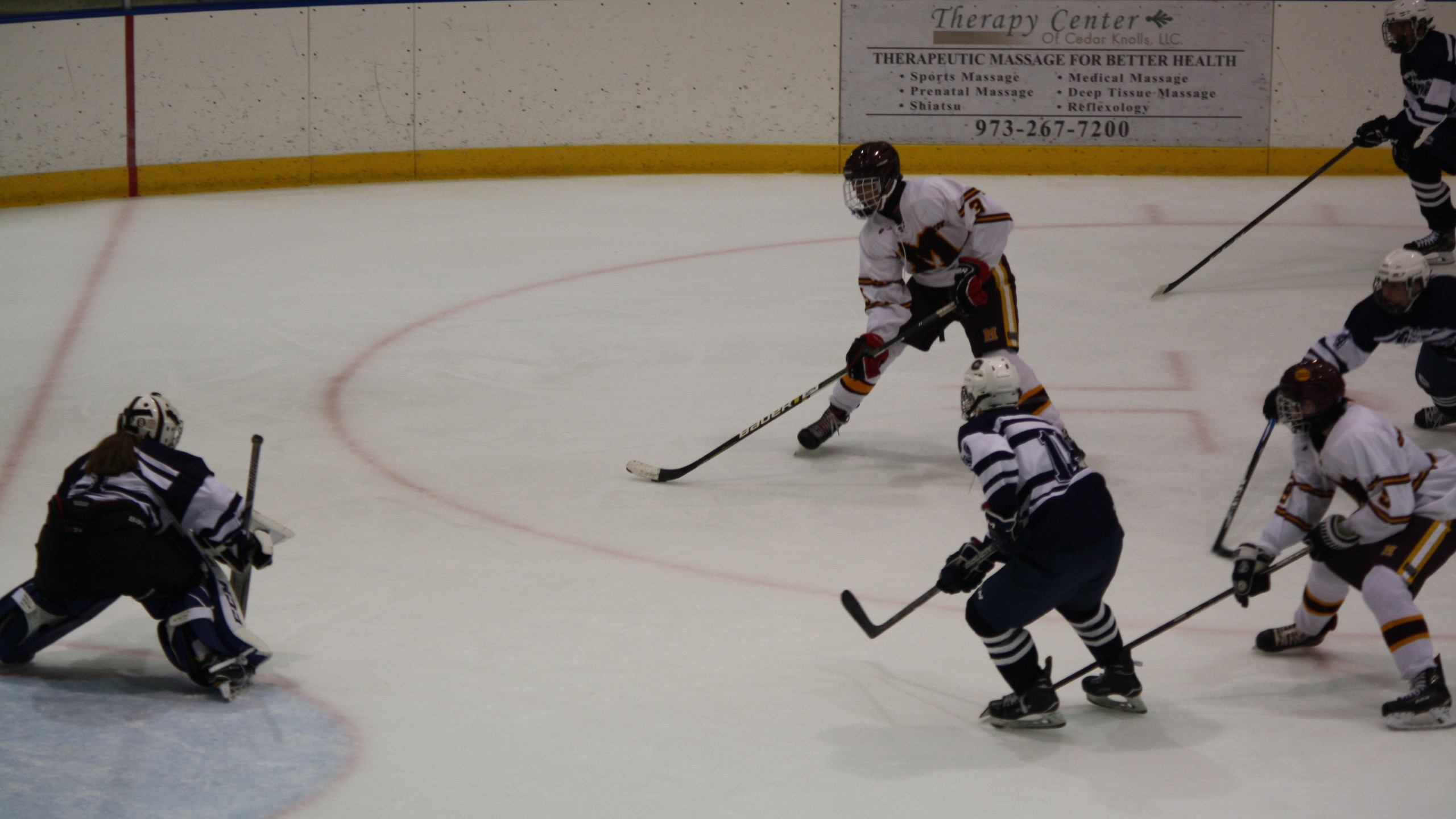 Madison's Jacoby Erickson looks to shoot against Chatham. (Mike Gurnis | The Morris-Sussex Hockey Report)