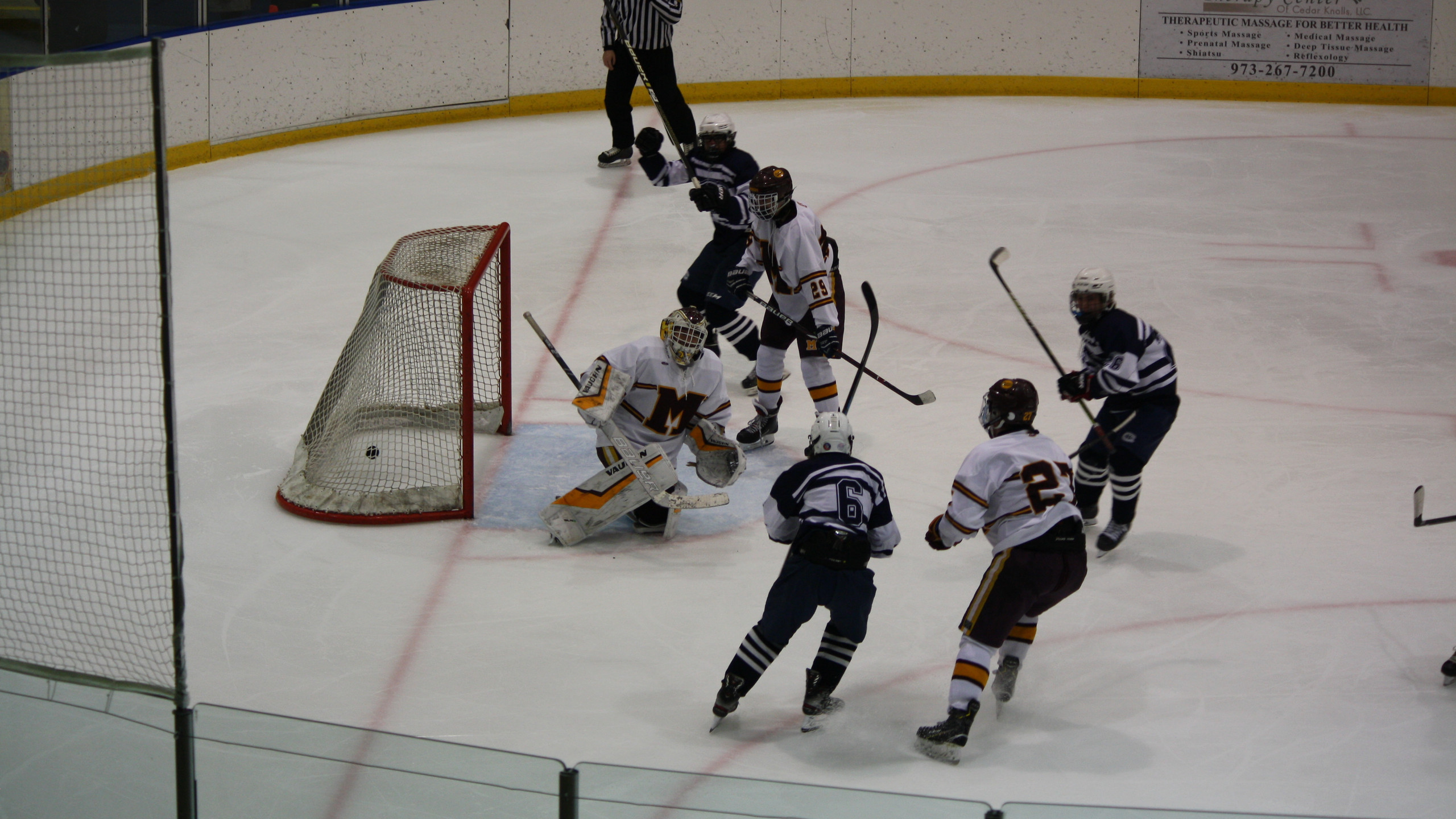 Chatham's Will White looks as the puck hits the back of the net against Madison. (Mike Gurnis | Morris-Sussex Hockey Report)