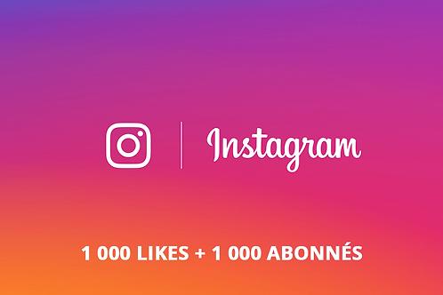 Pack Instagram M (1 000 likes + 1 000 abonnés)