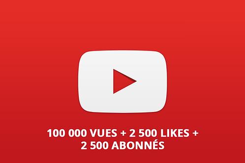 Pack Youtube L (100 000 vues + 2 500 Likes + 2 500 abonnés)