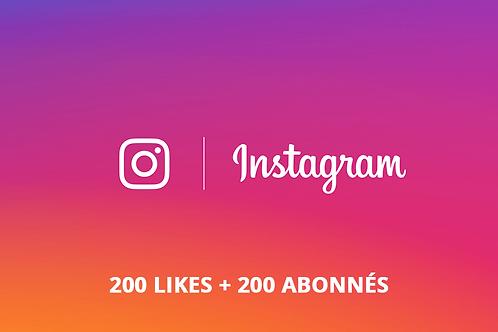 Pack Instagram S (200 likes + 200 abonnés)