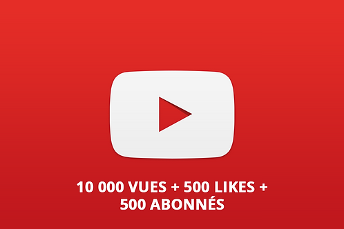 Pack Youtube M (10 000 vues + 500 Likes + 500 abonnés)