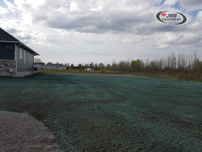 Hydroseeding an estate lot in Burrits Rapids, Ontario