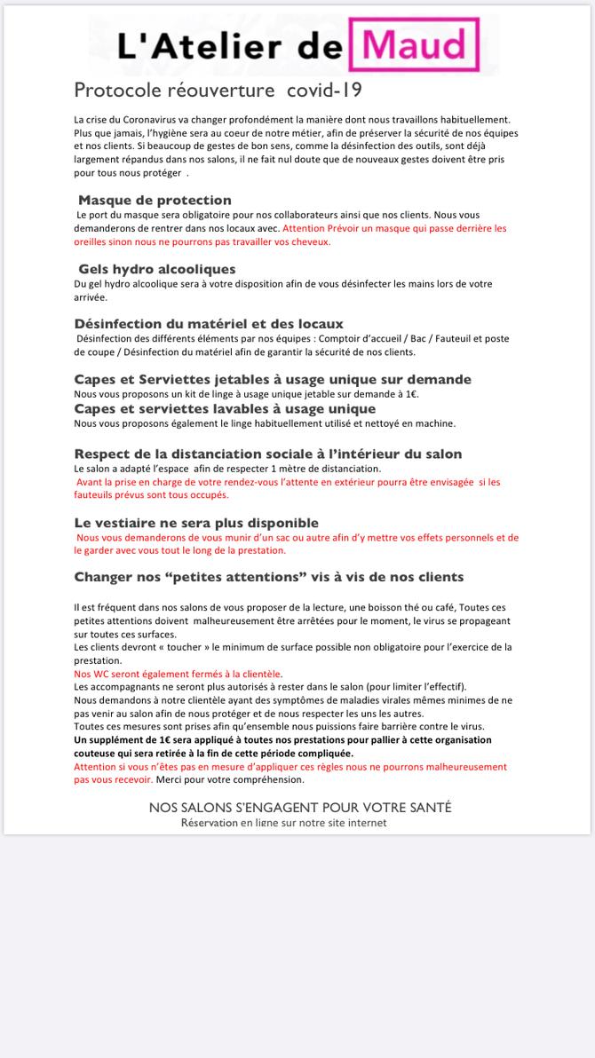 PROTOCOLE RÉOUVERTURE SALON COVID-19 CLIENT