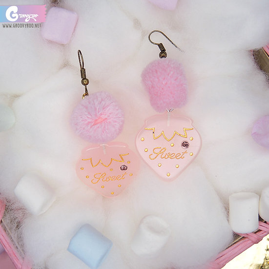 """Pink Strawberry Pom Pom """"Sweet"""" Earrings"""