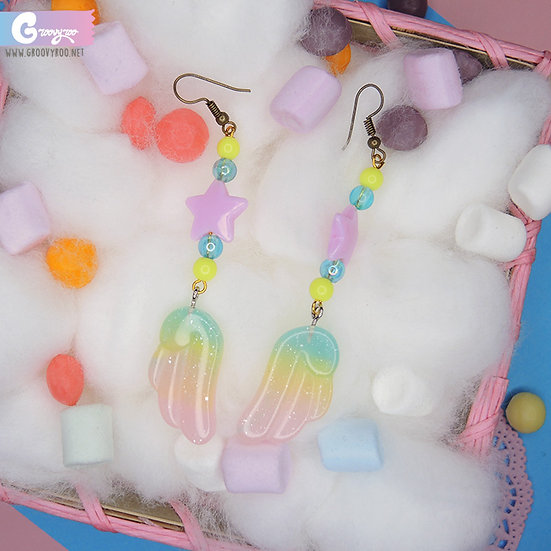 Rainbow Glittery Pastel Wing Drop Earrings