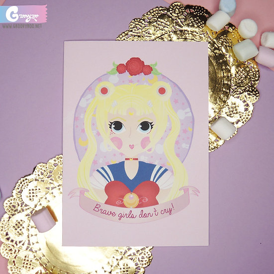 Sailor Moon - Brave Girls Don't Cry - Greeting Card