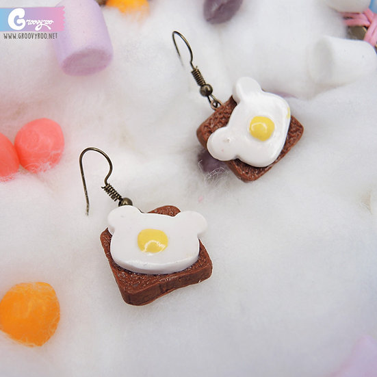 Sunny Side Up Bear Toast Drop Earrings in Different Colours