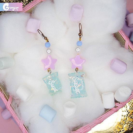 Blue Handmade Sweet Glittery Candy Earrings