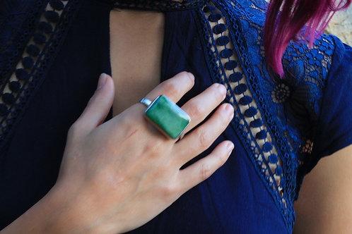 Greenstone Jade Double Finger Ring