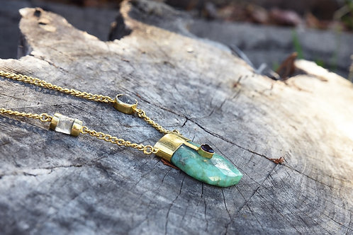 Fossil Chrysoprase in Gold Necklace
