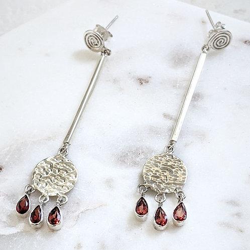 Long Frida Swirl Earrings - Garnet