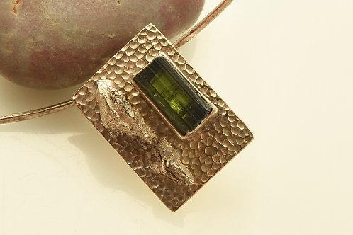 Green Tourmaline Silver Pendant
