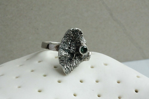 Fungus Silver Ring with Green Topaz Gem