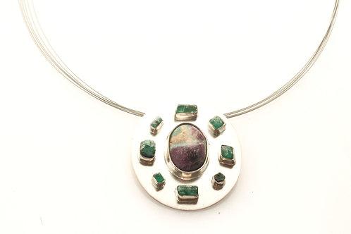 Rubizoicite pendant with Emeralds