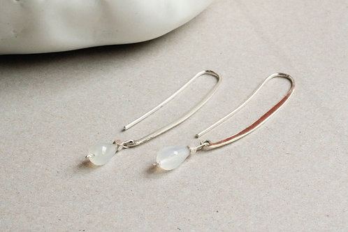 White moonstone drop earrings