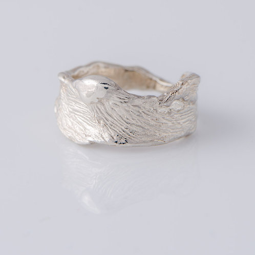 Bark Ring in Silver