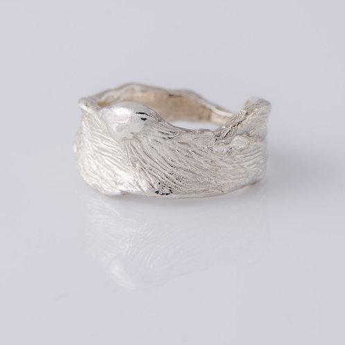 Bark Ring in Silver
