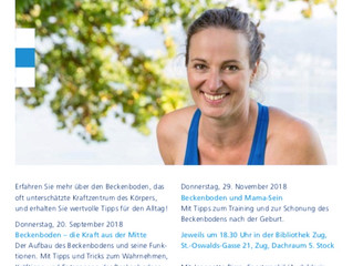 Vortragsreihe Beckenboden 2. Teil am 25.10. um 18.30 Uhr in Zug