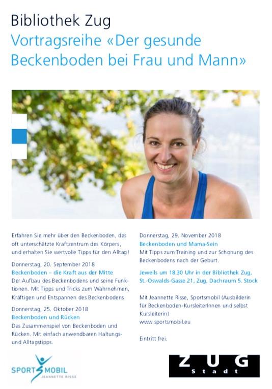 Flyer Vortragsreihe Beckenboden in Zug