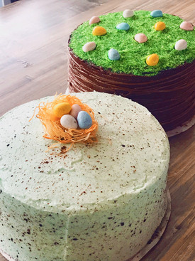 Easter Nest Almond Cake and Easter Basket Chocolate Cake