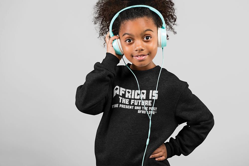 pull noir enfant fille afro lova afrique casque ecouteur métisse noire