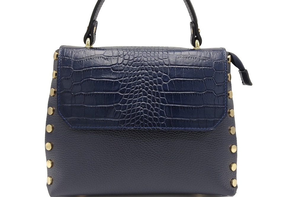 Tumbled and printed croco genuine leather handbag art. 267
