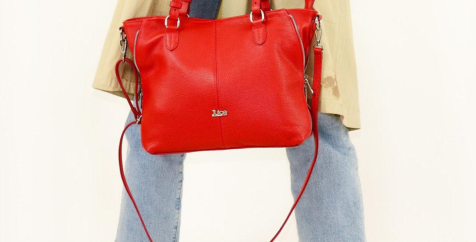 Tumbled genuine leather handbag art. 174