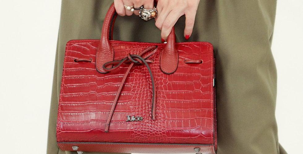 Printed croco genuine leather handbag art. 177