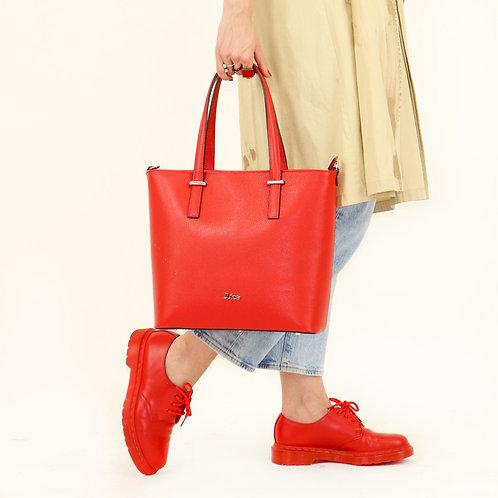 Tumbled genuine leather handbag art. 257