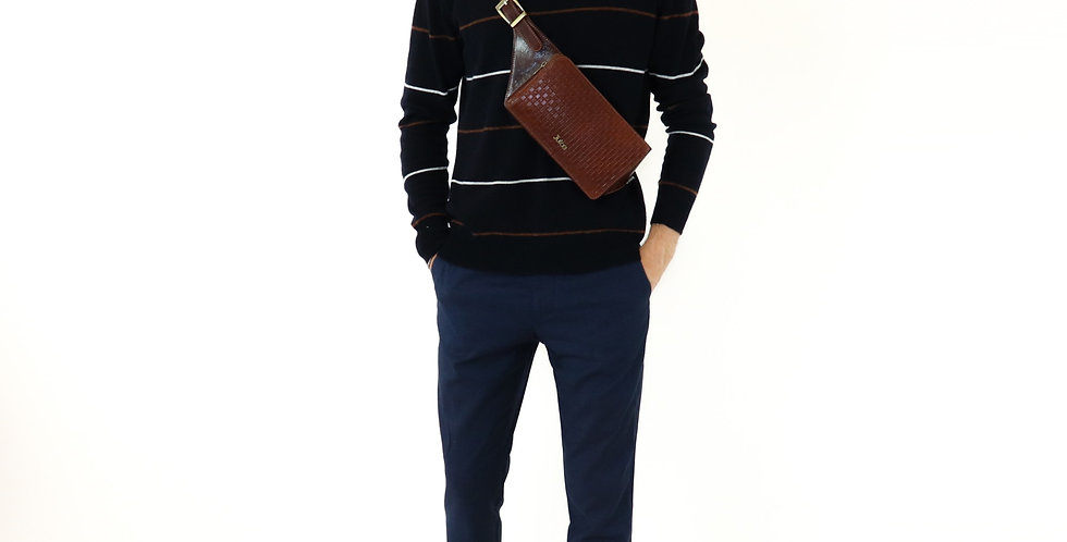 Hand buffered leather belt and crossbody bag art. 211