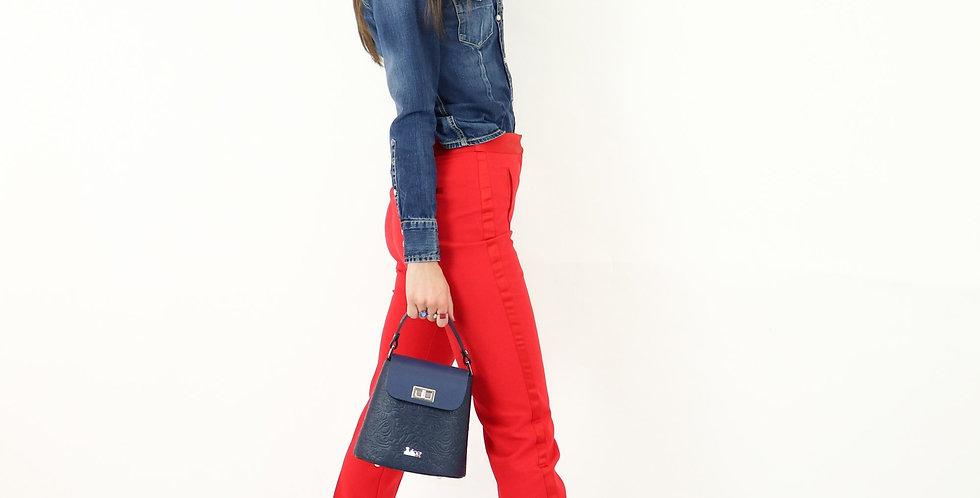 Soft embossed and tumbled genuine leather handbag art. 183