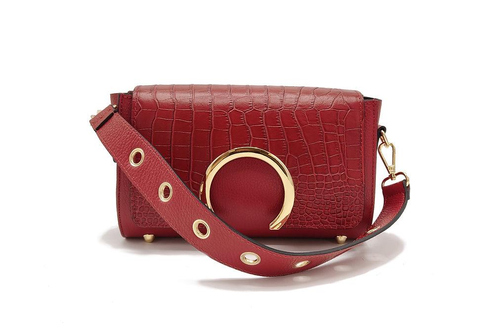 Tumbled and printed croco genuine leather handbag art. 276
