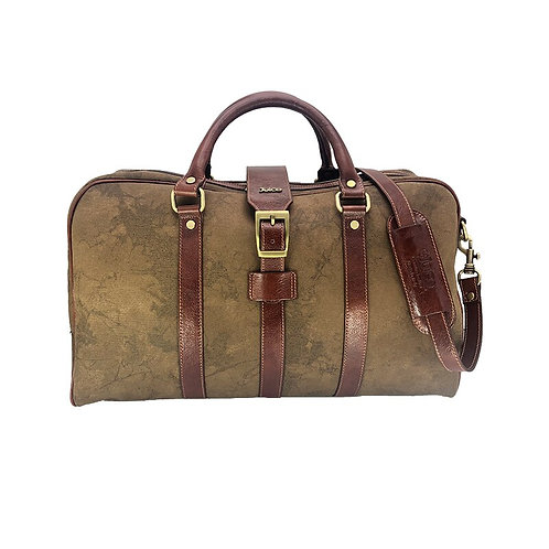 Hand buffered leather and canvas travel bag art. 242