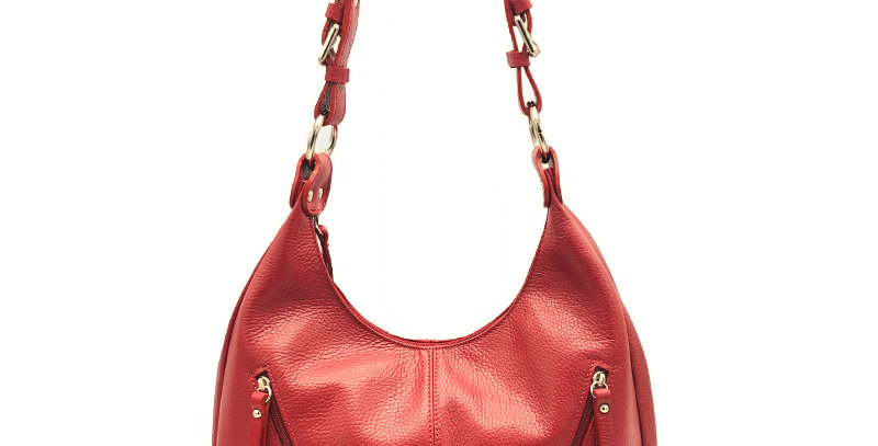 Tumbled genuine leather shoulder bag art. 119