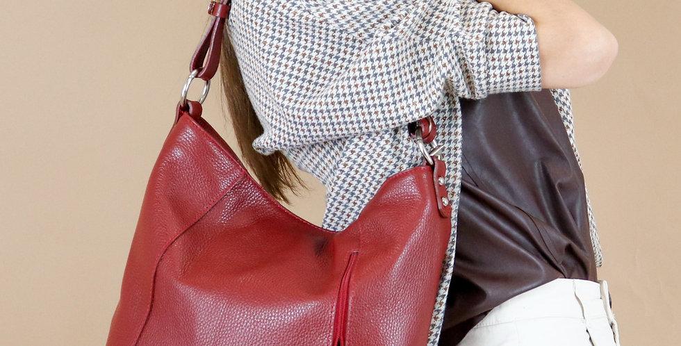 Tumbled genuine leather shoulder bag art. 006