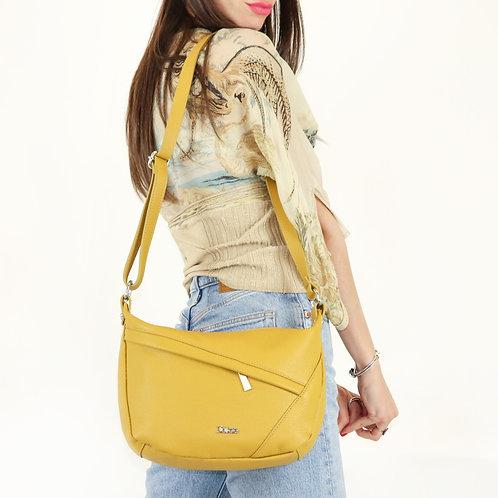 Tumbled genuine leather shoulder bag art. 038