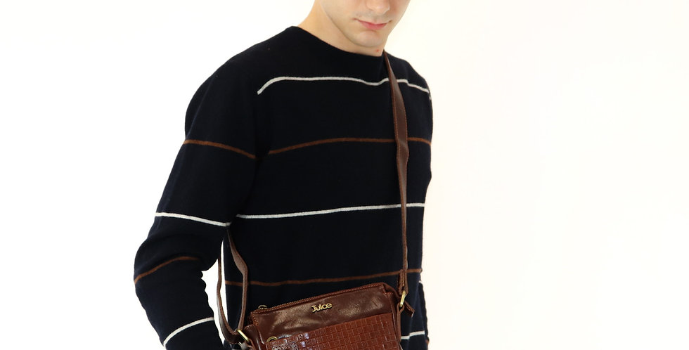 Hand buffered leather shoulder bag art. 224